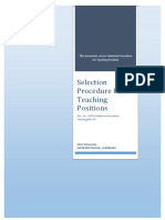 Selection Procedure for Teaching Positions