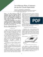 Modelisation de Reseaux Plans DAntennes Microrubans Par Des Circuits Equivalents