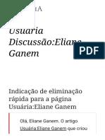 Usuária Discussão_Eliane Ganem – Wikipédia, A Enciclopédia Livre