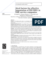 Critical factors for effective implementation of ISO 9001 in SME service companies