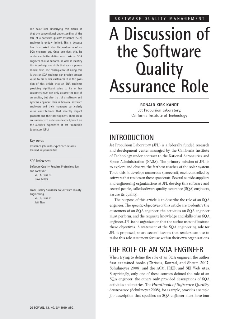 Discussion Of The Software Quality Assurance Role | Engineer | Software