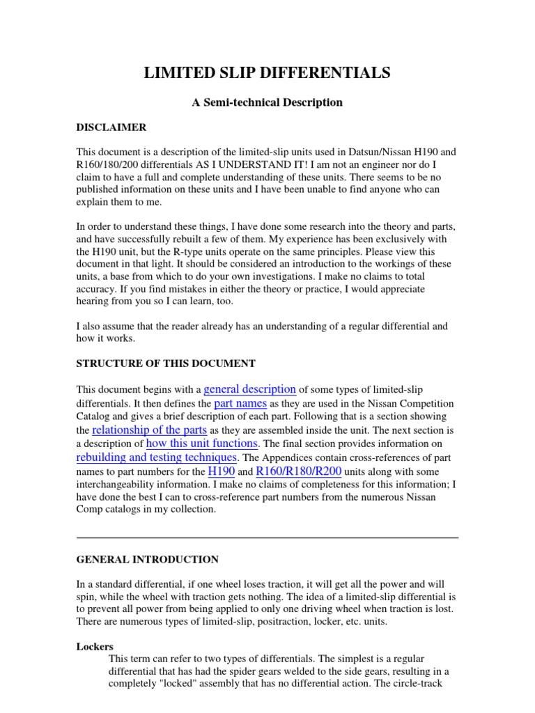 Limited Slip Differentials | Gear | Screw