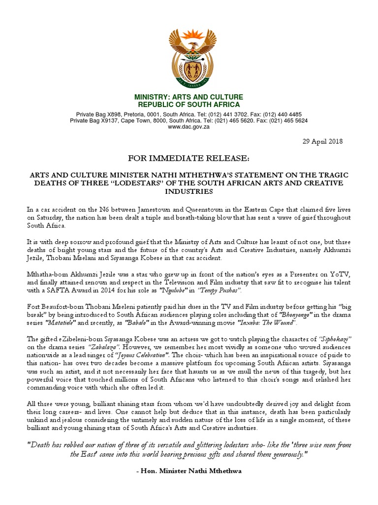 Minister Nathi Mthethwa on Passing of Three Young Stars   Leisure