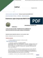 Exámenes Caple Temporada MAYO 2018 - Exámenes CAPLE Venezuela