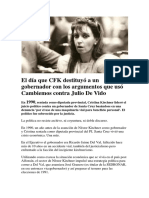 El Día Que CFK Destituyó a Un Gobernador