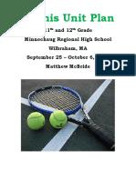 tennis unit plan