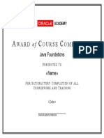 Oracle Academy Course Completion Award - Java Foundations