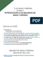 Unidad 1 Introducción Al Balance de Masa y Energia