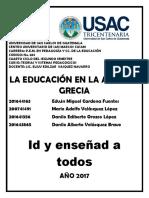 Resumen de La Educacion en La Antigua Grecia[1]