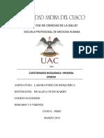 Cuestionario Bioquimica 1ra Unidad 2018 i