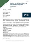 Ley Prevencion de Lavado de Activos y Del Financiamiento de Delitos