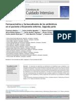 Farmacocinetica y Farmacodinamica de Los Antibioticos en El Paciente Criticamente Enfermo Segunda Parte Molina2015