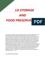 Cold Storage & Food Preservation