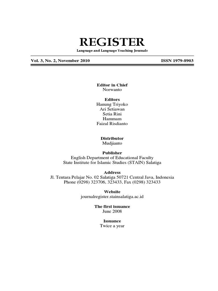 Register Vol 3 No 2 November 2010 Jacques Lacan