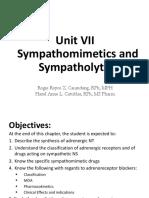 Unit 7. Sympathomimetics and Sympatholytics