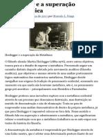 Heidegger e a superação da Metafísica | Esboços Filosóficos