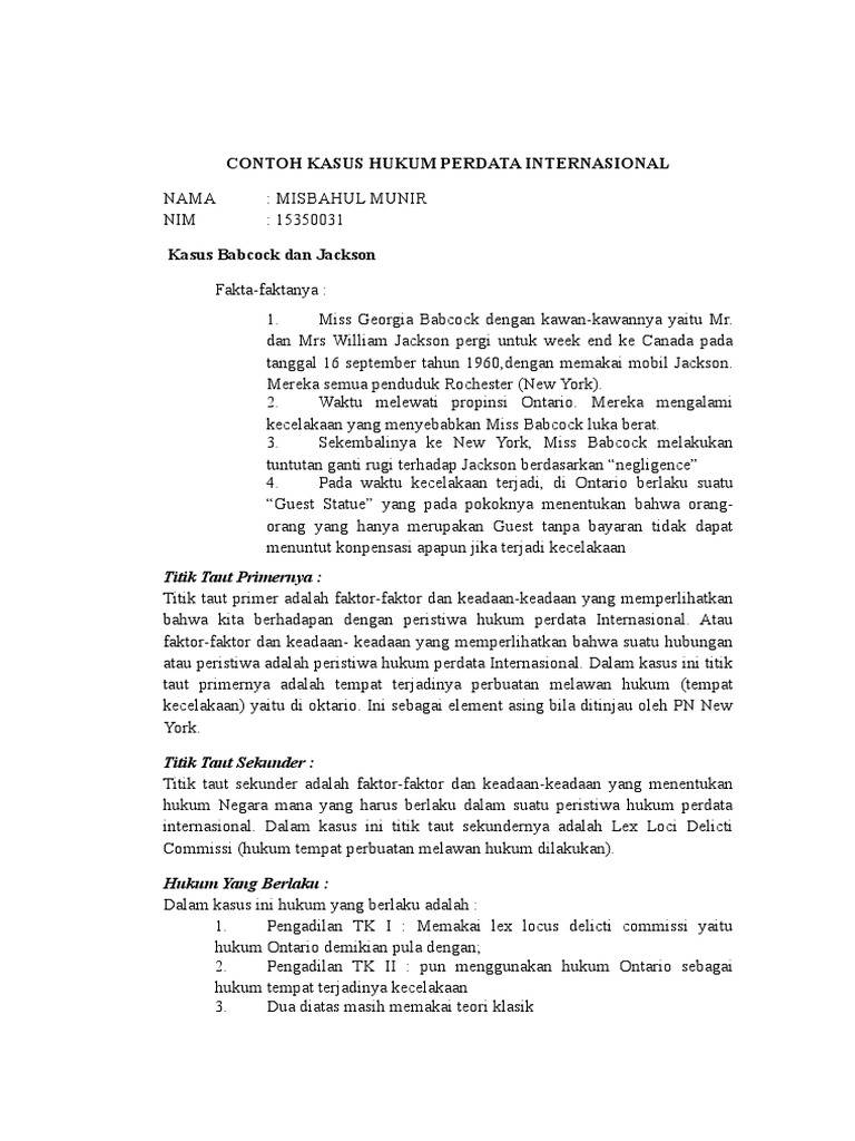 Doc Contoh Kasus Hukum Perdata Internasional Nindy Ardini Academia Edu