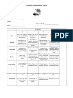 Elements of Fiction Book Report Rubric