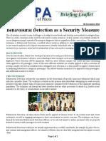 Behavioural Detection as a Security Measure