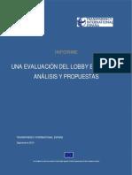 TRANSPARENCIA INTERNACIONAL - Una evaluation del lobby en españa -Analisis y propuestas