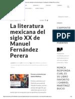 Reseña Literaria de La Literatura Mexicana Del Siglo XX de Manuel Fernández Perera _ Crítica