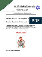 Parasha No.45 Vaet Janan Shema Israel Judaica Menorah