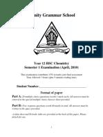 Trinity Grammar 2010 Chemistry HY
