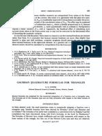 Gaussian Quadrature Formulas for Triangles