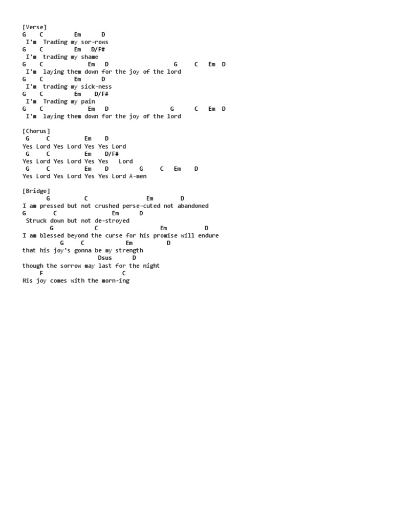 Trading My Sorrows Chords Ver 2 By Darrell Evans Ultimate Guitar