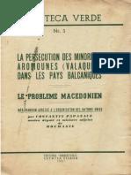 Constantin Papanace - La persecution des minorites aromounes (Valaques) - 1951- 36 p.