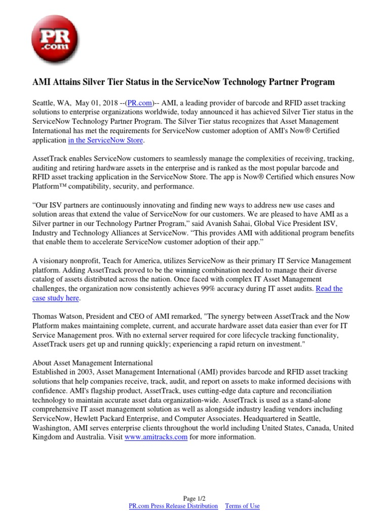 AMI Attains Silver Tier Status in the ServiceNow Technology