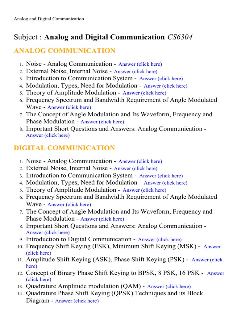 Analog and Digital Communication - Lecture Notes, Study Material and