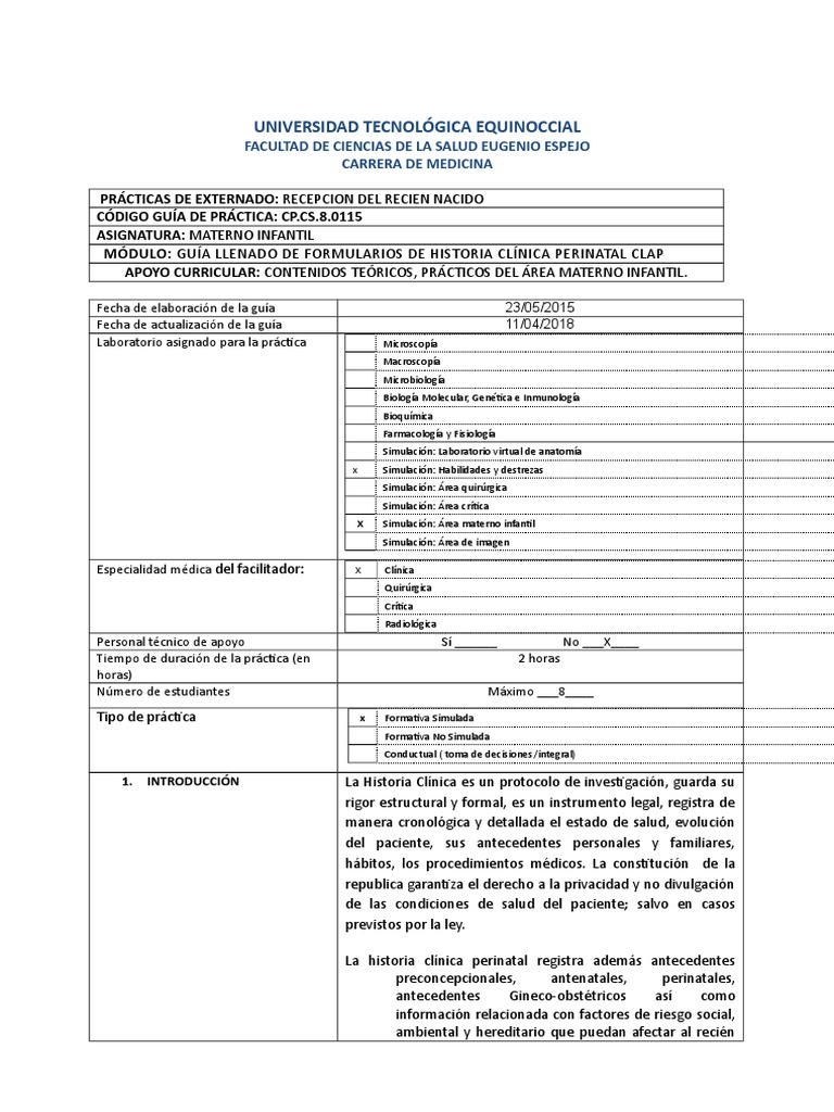 Llenado de Formularios HCL Perinatal