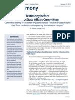 2018 04 Testimony RestrictionsonFreedomofSpeechStudentsRights CHE Lindsay