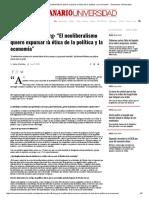 """Bernardo Kliksberg_ """"El Neoliberalismo Quiere Expulsar La Ética de La Política y La Economía"""" - Semanario Universidad"""