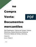 Informe compra y venta, documentos mercantiles