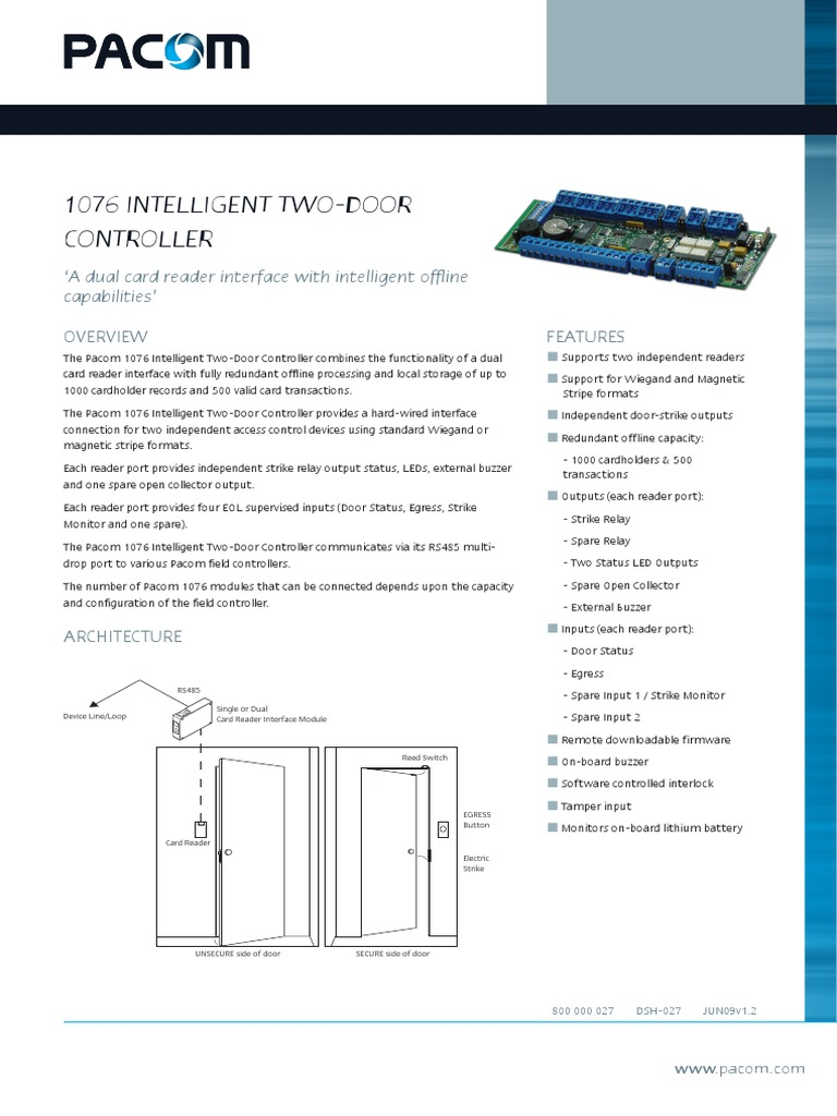 Pacom 1076 Intelligent 2 Door Controller Datasheet Access Control Manufactured Goods