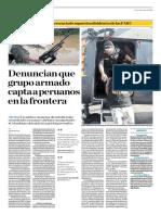 Denuncian que grupo armado capta a peruanos en la frontera