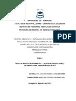 Gestión Educativa y Actualización Docente en El Colegio Fiscal Mixto Provincia de Imbabura Del Cantón de Durán Año 2012