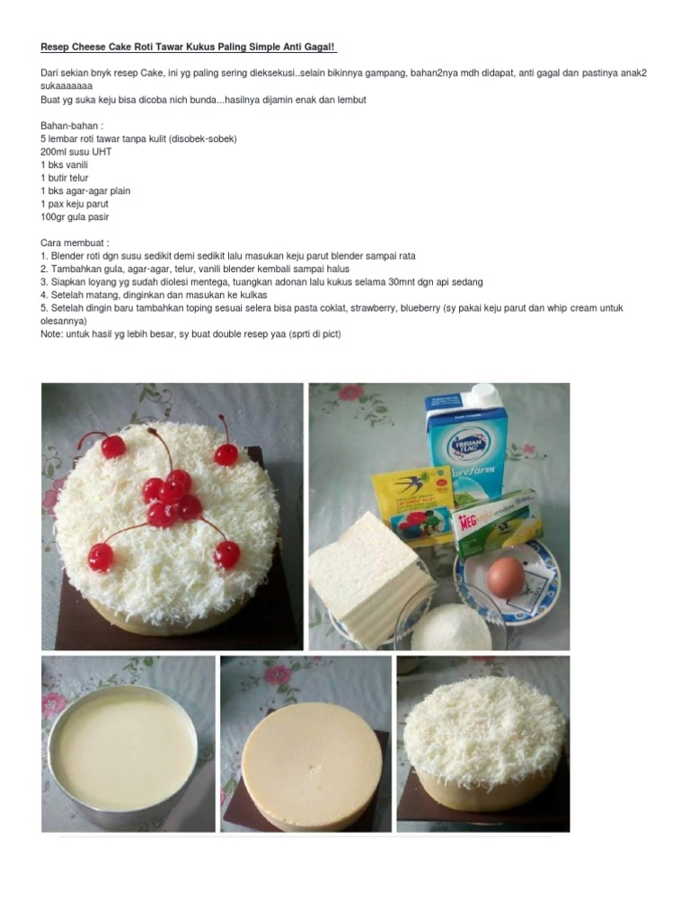 Resep Cheese Cake Roti Tawar Kukus Paling Simple Anti Gagal