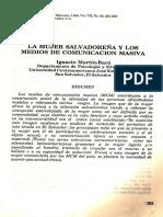 (1988c) La Mujer Salvadoreña y Los Medios de Comunicación Masiva
