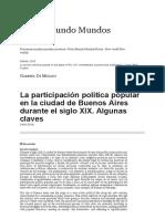La Participación Política Popular en La Ciudad de Buenos Aires Durante El Siglo XIX. Algunas Claves