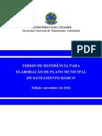 Termo de Referência (Tdr) Para Elaboração de Plano Municipal de Saneamento Básico (Pmsb)