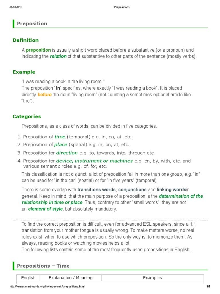 Prepositions Preposition And Postposition Noun