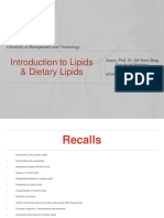 Introduction to Lipids and Dietary Lipids