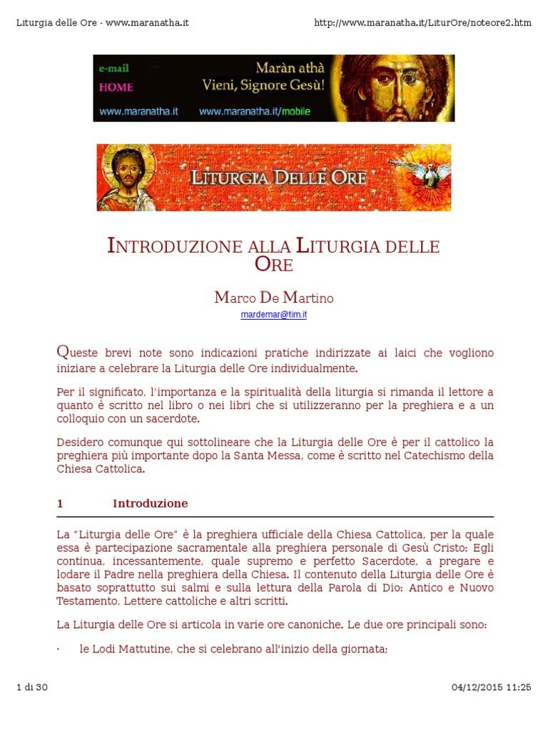 Calendario Liturgico Maranatha.Liturgia Ore