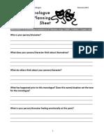 Monologue Planning Sheet