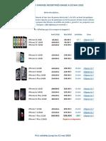 Tarif Mai 2018 - iPhones Recertifiés Grade A