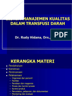 Penerapan Sistem Kualitas Dalam Pelayanan Transfusi Darah