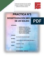 INFORME N°3 DESINTEGRACION MECANICA DE UN SOLIDO
